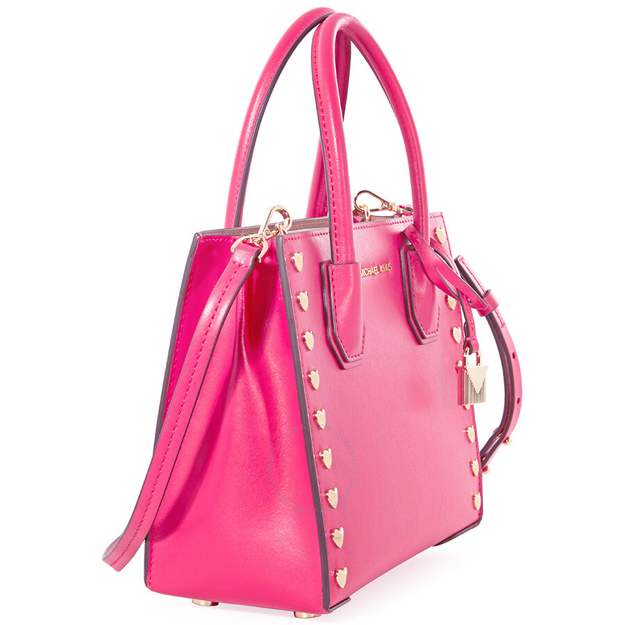 be32b2b7ad26 Michael Kors Mercer Medium Heart Studded Messenger Bag - Ultra Pink ...