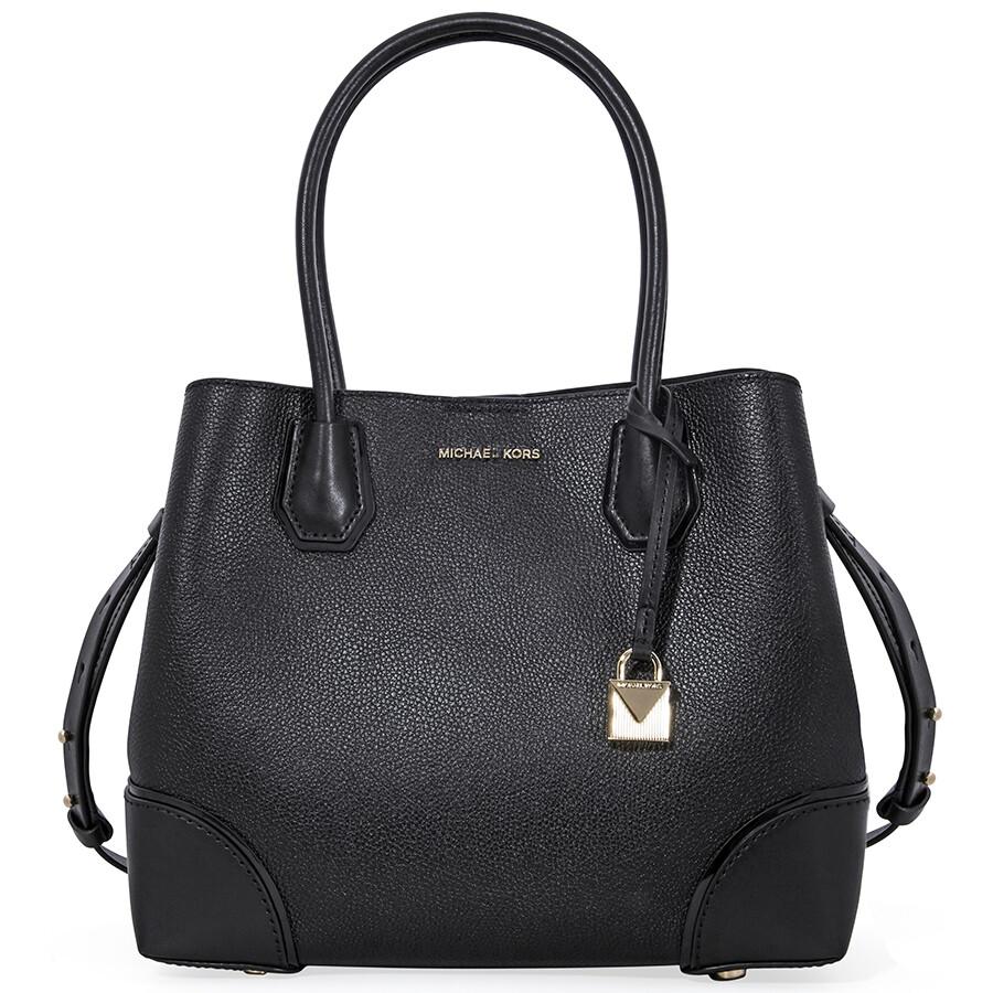 aeb61ced10e8 Michael Kors Mercer Medium Leather Satchel - Black - Handbags - Jomashop