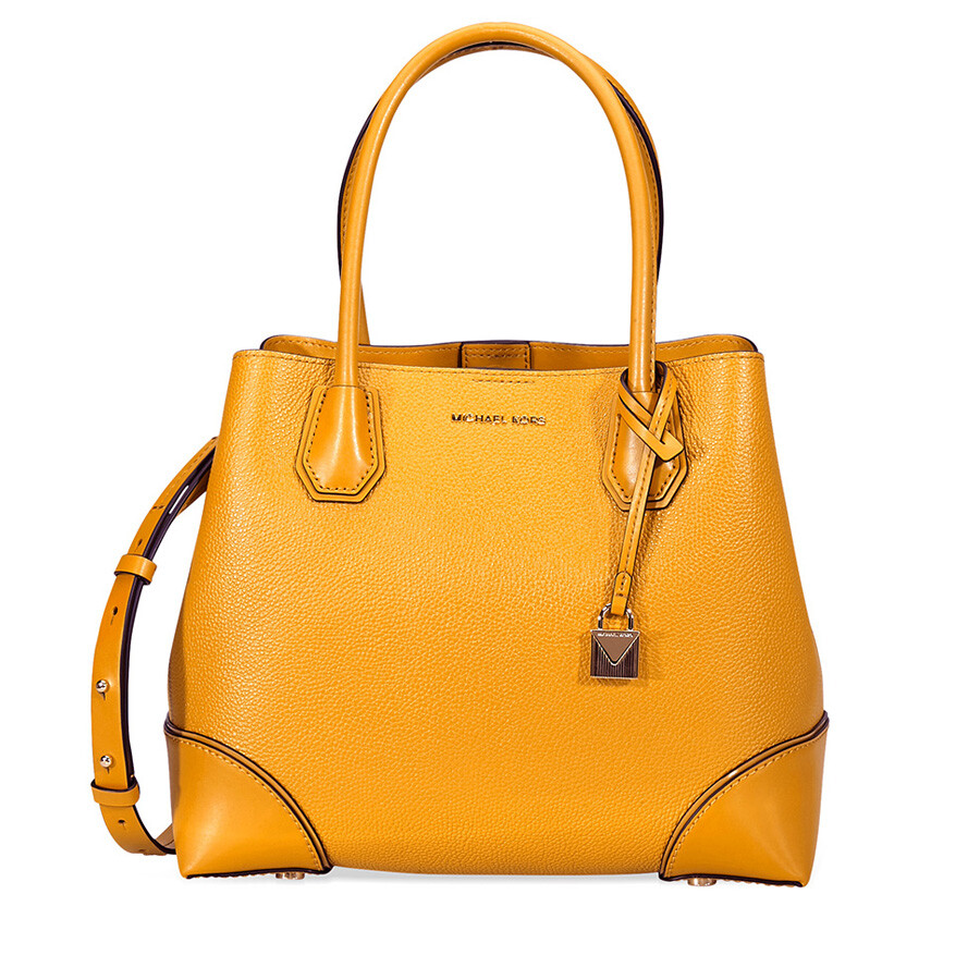 6d57f559308 Michael Kors Mercer Medium Leather Satchel- Marigold Item No. 30H7GZ5T6A-706
