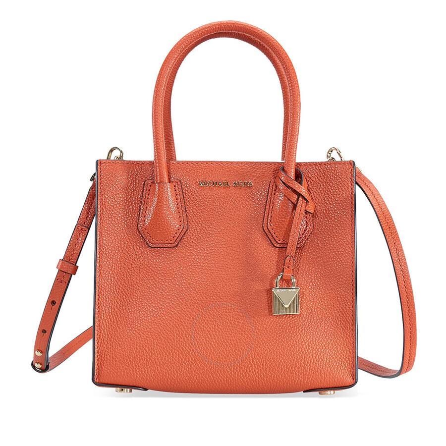 21ce2d9341 Michael Kors Mercer Medium Mercer Pebbled Leather Crossbody Bag- Orange