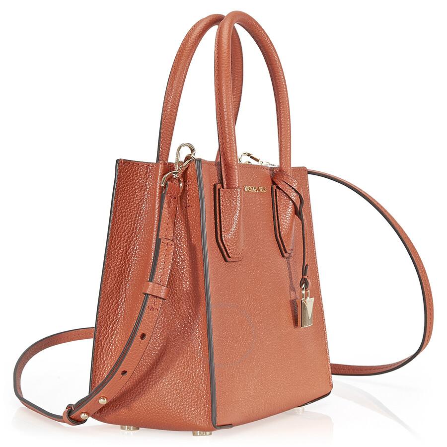 Michael Kors Mercer Medium Pebbled Leather Crossbody Bag Orange