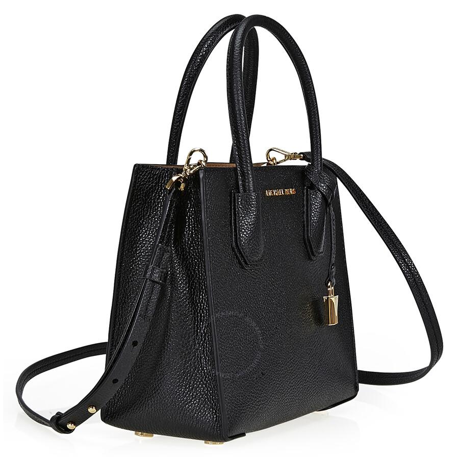c28ba86baf5 ... Michael Kors Mercer Medium Pebbled Leather Crossbody Bag- Black ...