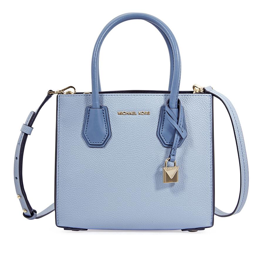 7546367a153f Michael Kors Mercer Medium Pebbled Leather Crossbody Bag- Pale Blue Item  No. 30T8TM9M2L-487