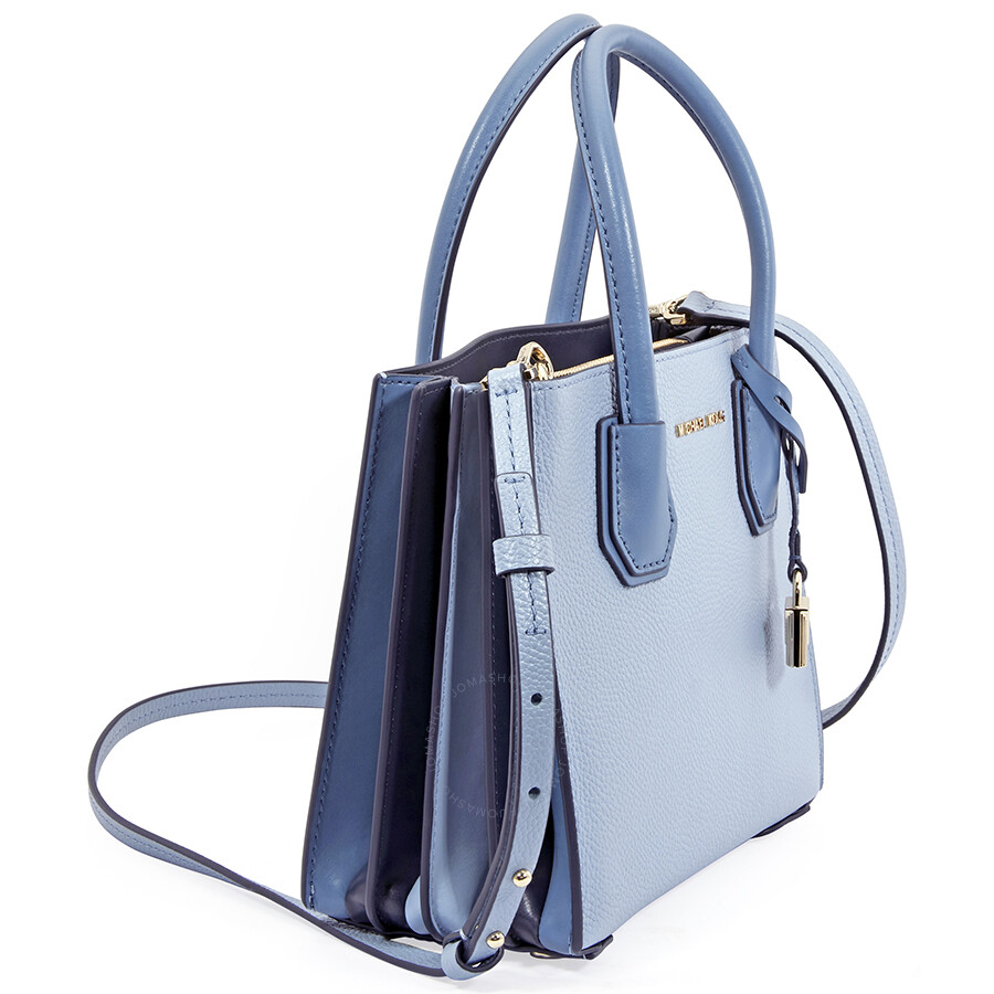 5cf4c017e369 Michael Kors Mercer Medium Pebbled Leather Crossbody Bag- Pale Blue ...