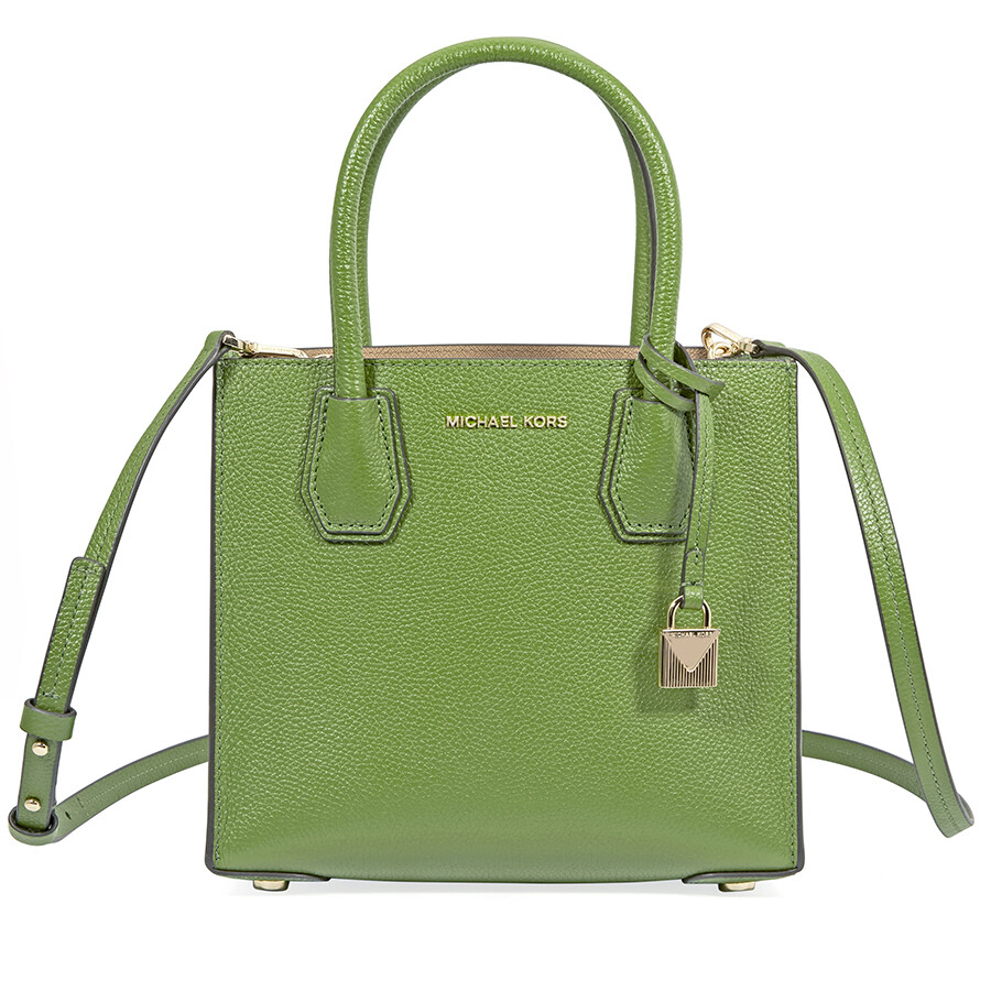 3d27c3e9dafd Michael Kors Mercer Medium Pebbled Leather Crossbody Bag- True Green Item  No. 30F6GM9M2L-304