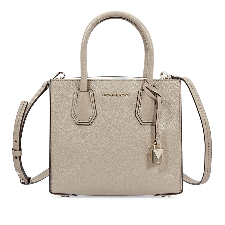 b93181dcf9c0 Michael Kors Mercer Medium Pebbled Leather Crossbody Bag- Truffle ...