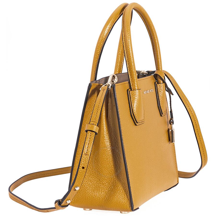 a758a0691ebf Michael Kors Mercer Pebbled Leather Crossbody Bag- Marigold - Mercer ...