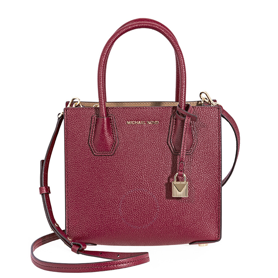 8ae2e3cd5d07 Michael Kors Mercer Pebbled Leather Crossbody Bag- Maroon Item No.  30F6GM9M2L-550