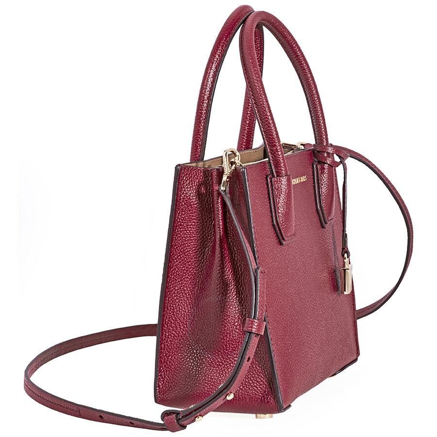 d14ae4503858 Michael Kors Mercer Pebbled Leather Crossbody Bag- Maroon - Mercer ...