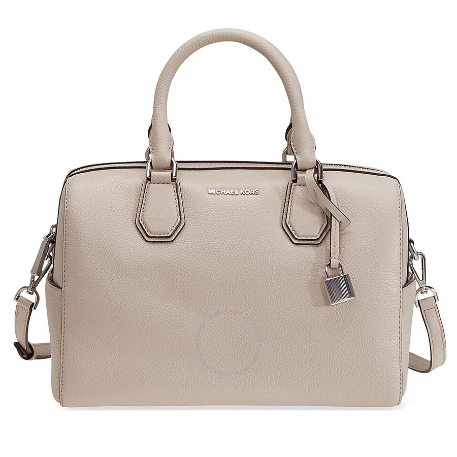 michael kors mercer pebbled leather duffle bag cement