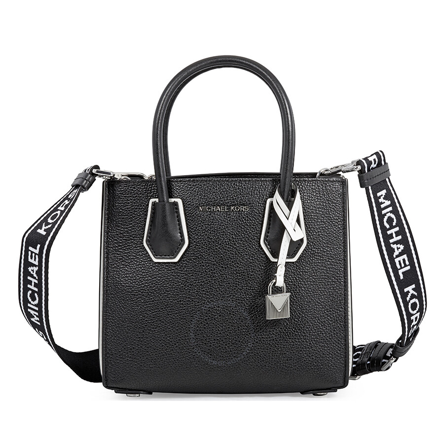 8b303672e87295 Michael Kors Mercer Pebbled Leather Messenger Bag - Black / White Item No.  30H8SM9M3T-012