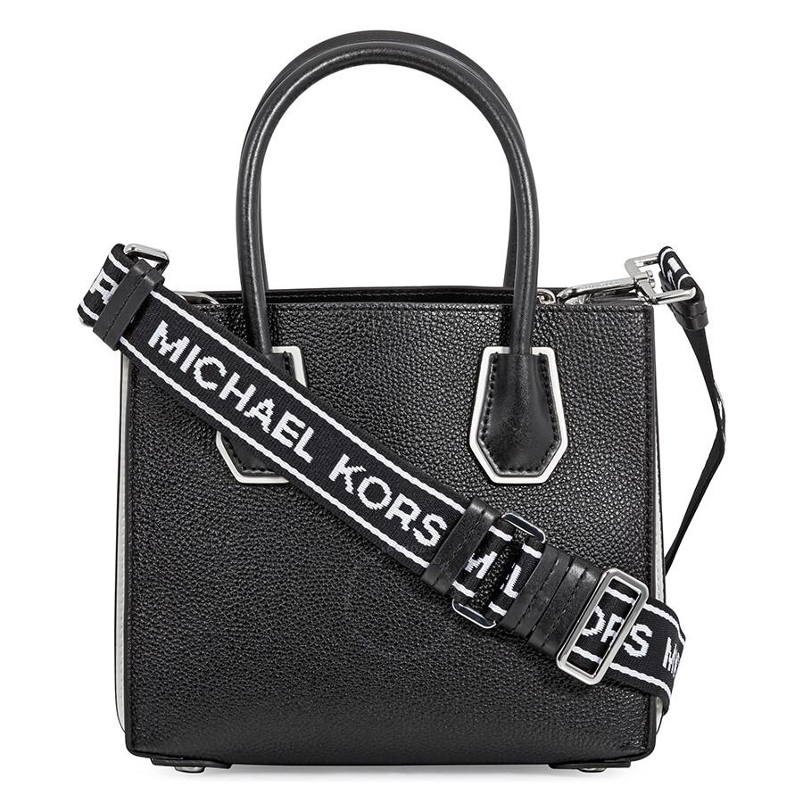 d8ef41ef1f Michael Kors Mercer Pebbled Leather Messenger Bag - Black / White ...