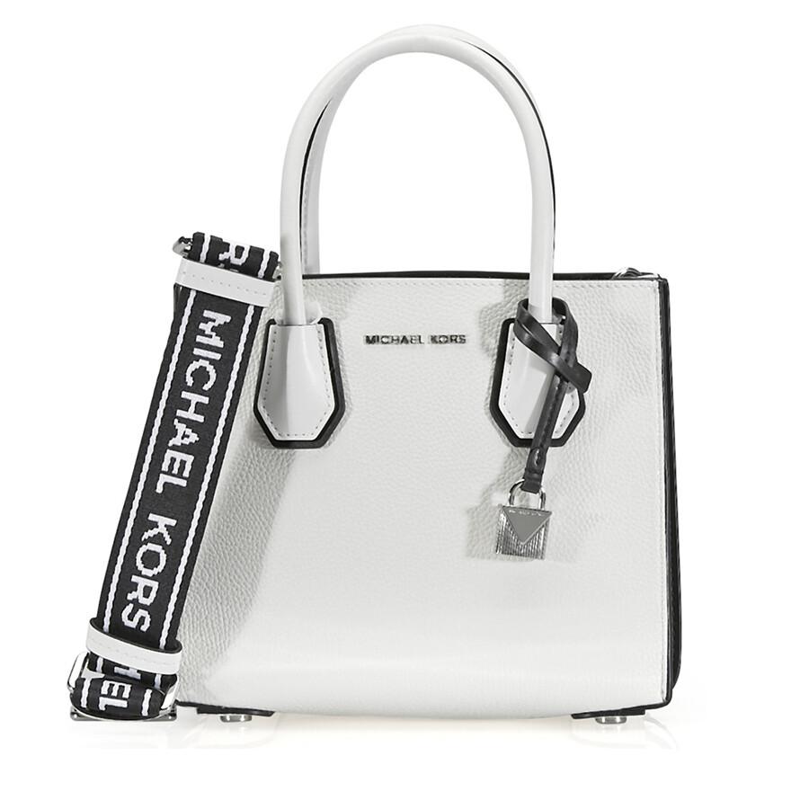 e3dfb51e6d85 Michael Kors Mercer Pebbled Leather Messenger Bag - White   Black Item No.  30H8SM9M3T-089