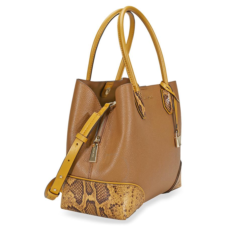 b64513c80b18 Michael Kors Mercer Gallery Pebbled Leather Shoulder Bag - Acorn ...