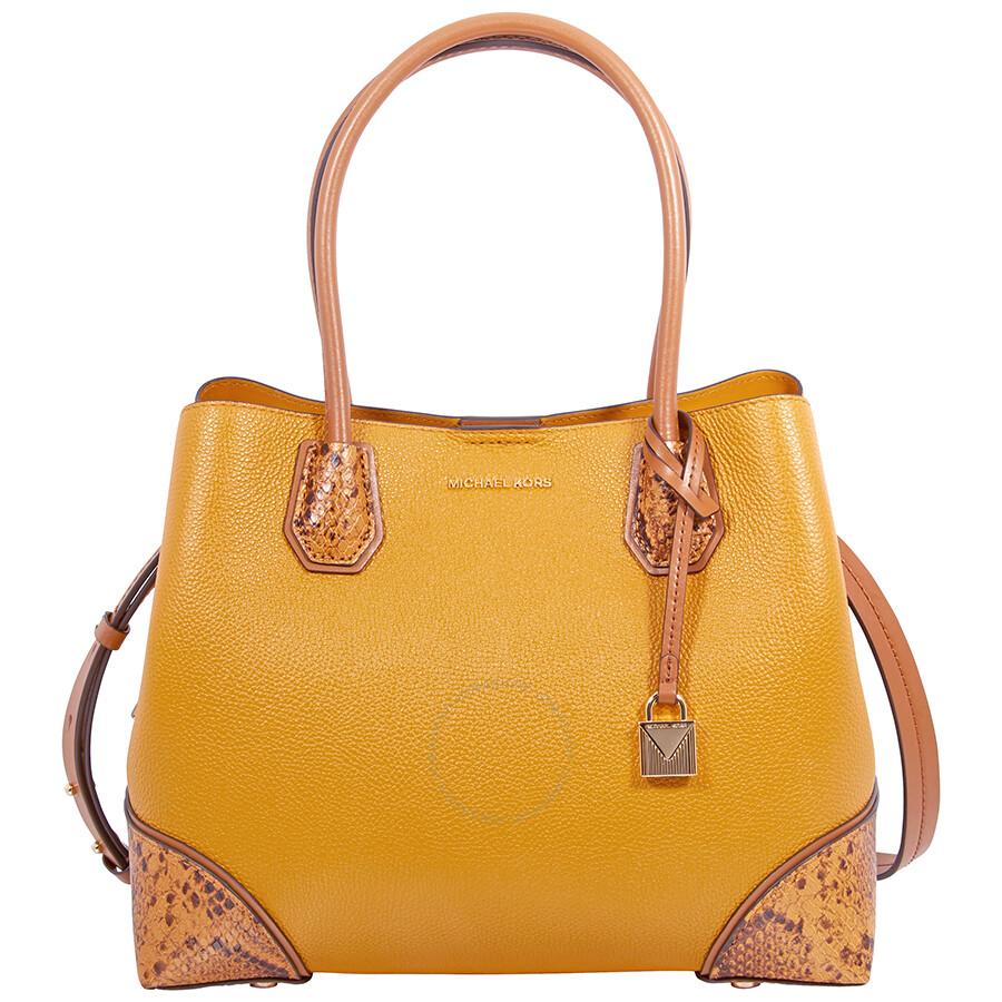 4c64fe276907 Michael Kors Mercer Gallery Pebbled Leather Shoulder Bag - Marigold ...