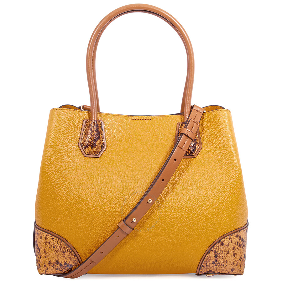 Michael Kors Mercer Gallery Pebbled Leather Shoulder Bag - Marigold Item  No. 30F8GZ5T6T-706 a8897b95cbe8d