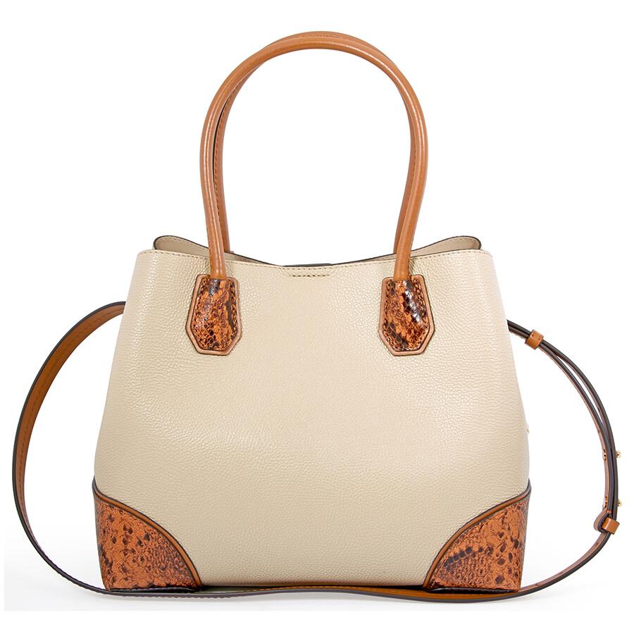 Michael Kors Mercer Gallery Pebbled Leather Shoulder Bag Oat