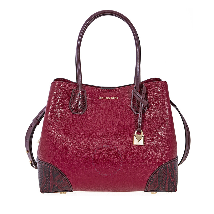 a25a208e9bfb Michael Kors Mercer Gallery Pebbled Leather Shoulder Bag- Maroon Item No.  30F8GZ5T6T-550