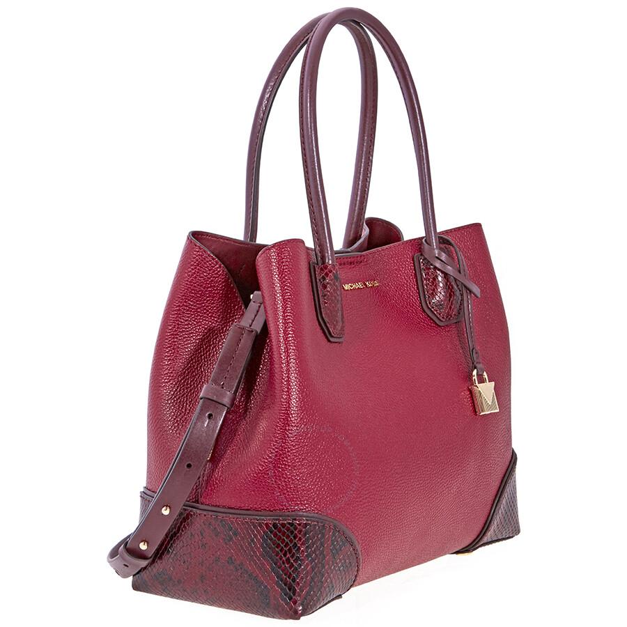 1e4e7bc95f46 Michael Kors Mercer Gallery Pebbled Leather Shoulder Bag- Maroon ...