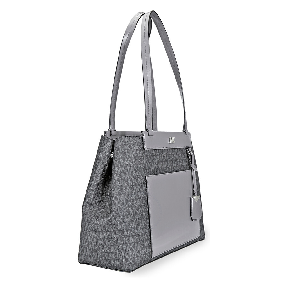 446d18d23914 Michael Kors Meredith Medium Logo and Leather Tote- Black Combo ...