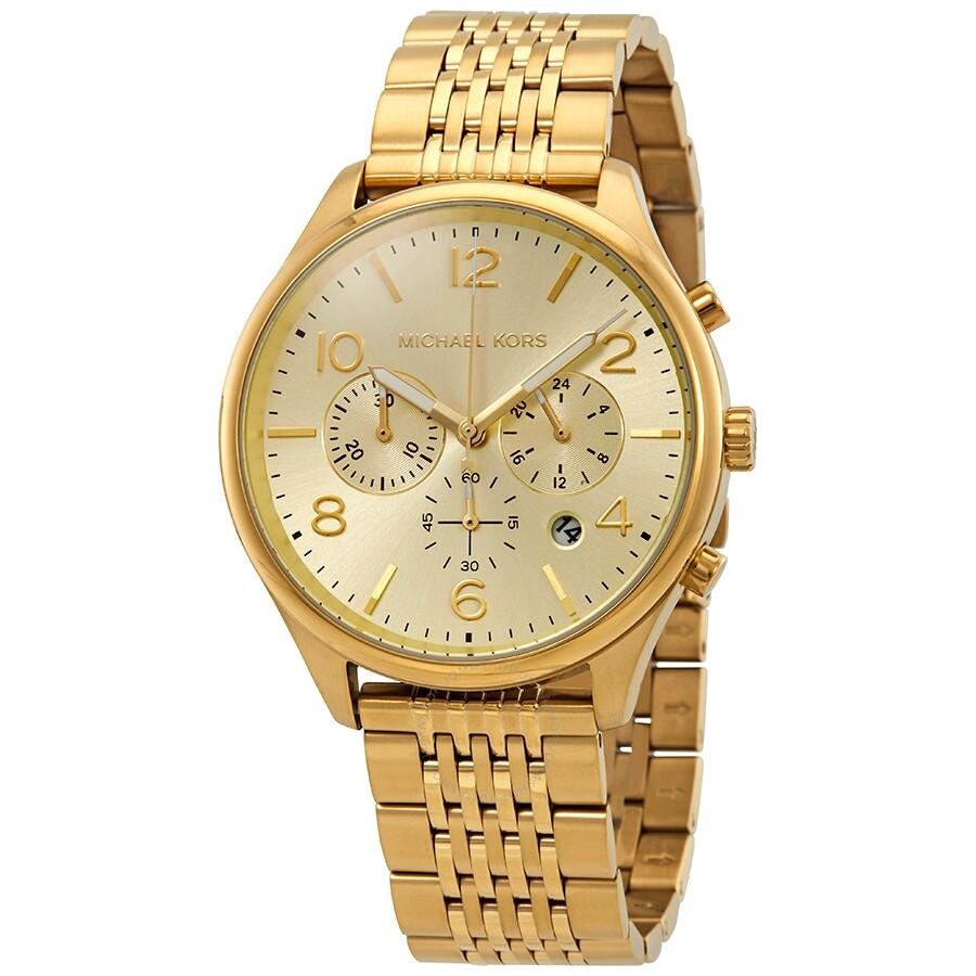 6820719817b3 Michael Kors Merrick Chronograph Gold Dial Men s Watch MK8638 ...