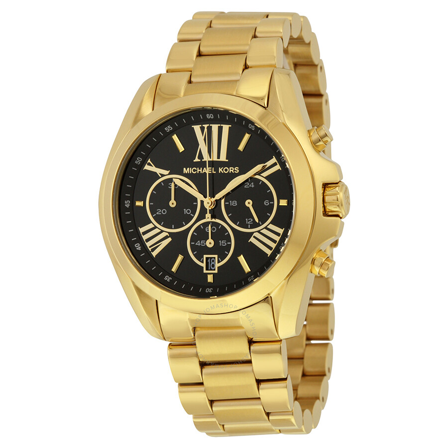 ebd110c78c650 Michael Kors Mid-Size Bradshaw Chronograph Black Dial Gold-tone Ladies Watch  MK5739 ...