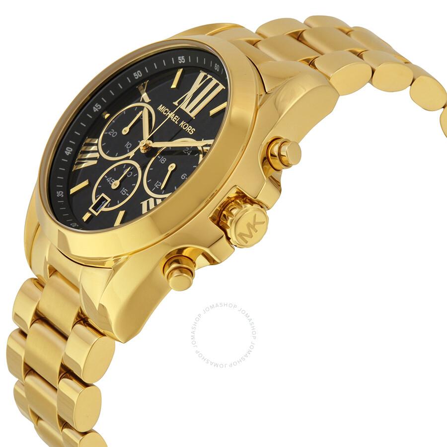 dcd4b76689fc ... Michael Kors Mid-Size Bradshaw Chronograph Black Dial Gold-tone Ladies  Watch MK5739 ...