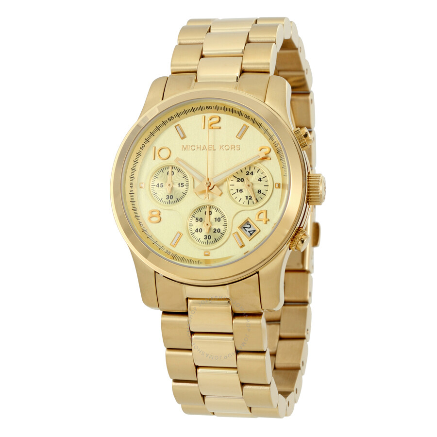 michael kors midsized chronograph gold tone unisex watch. Black Bedroom Furniture Sets. Home Design Ideas