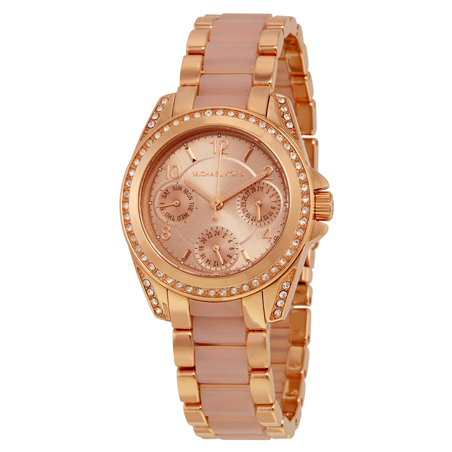 michael kors chronograph mini blair blush and rose gold tone stainless steel bracelet ladies. Black Bedroom Furniture Sets. Home Design Ideas