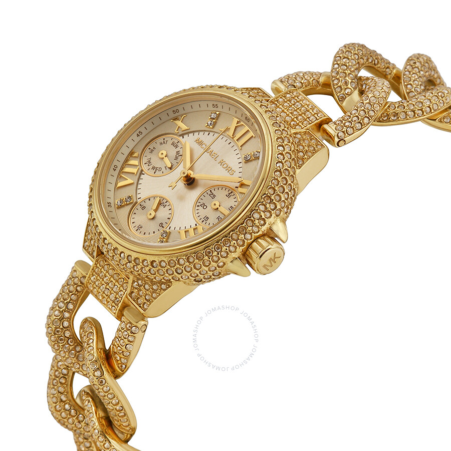 1b19b8716109 ... Michael Kors Mini Camille Champagne Dial Crystal Encrusted Ladies Watch  MK3330 ...