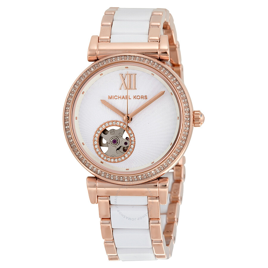 9f2c910a876a Michael Kors Mini Catlin White Dial Rose Gold-tone Steel and White Ceramic  Ladies Watch ...