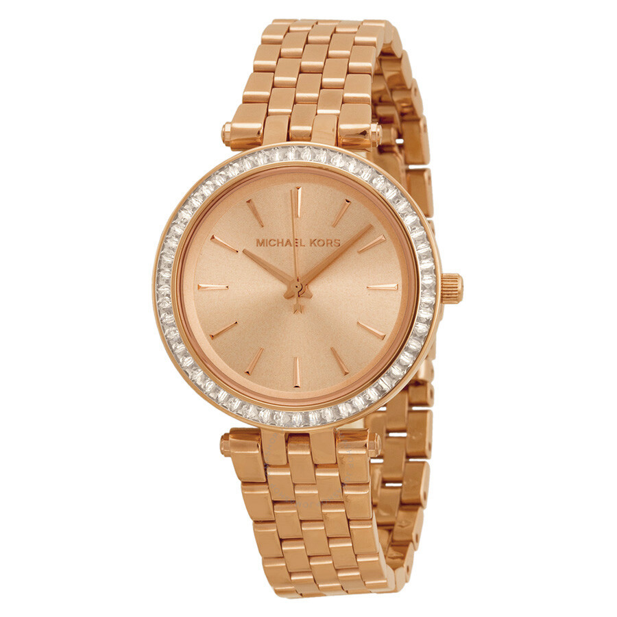 Michael Kors Mini Darci Rose Gold Tone Dial Steel Ladies Watch MK3366