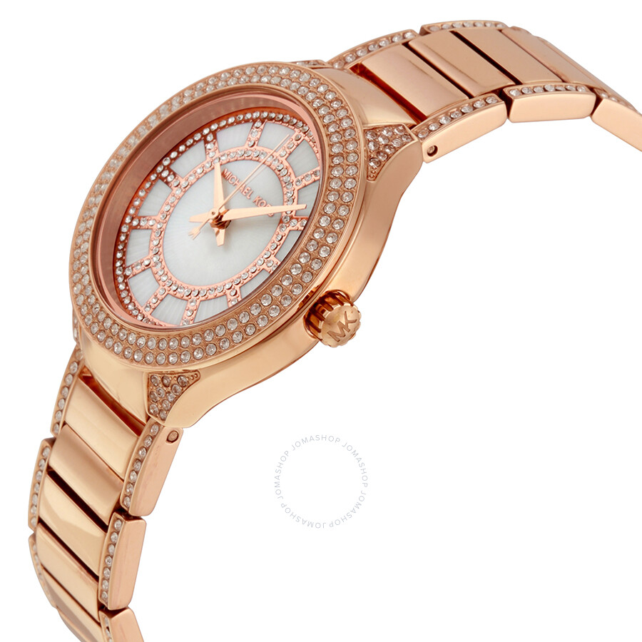 30fd111ddd51 ... Michael Kors Mini Kerry Mother of Pearl Dial Rose Gold-Tone Ladies Watch  MK3443 ...