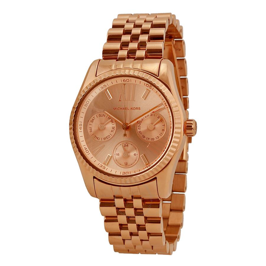 b0fbdd152b25 Michael Kors Mini Lexington Chronograph Rose Dial Rose Gold-tone Ladies  Watch MK5809 ...