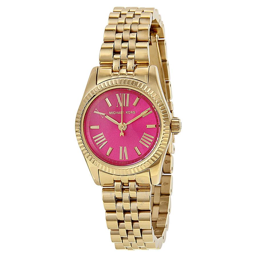 200e440a348b Michael Kors Mini Lexington Pink Dial Gold-tone Ladies Watch MK3270 ...