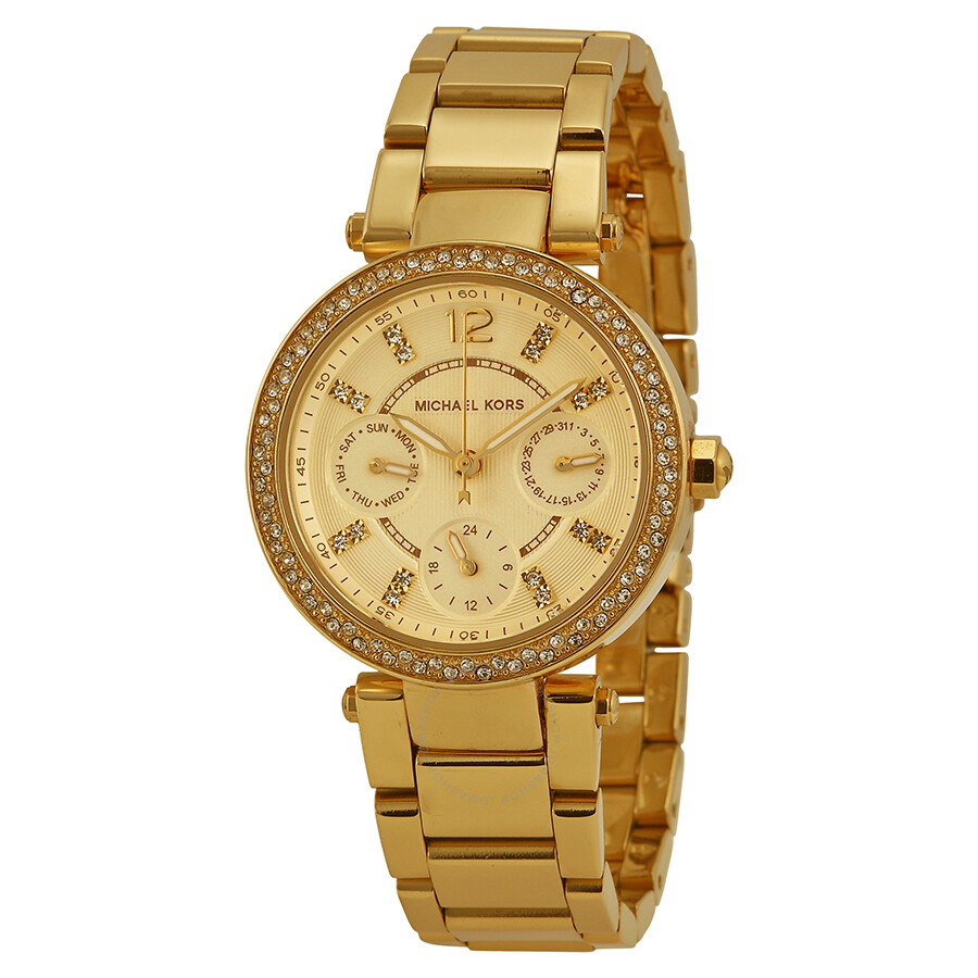 Michael kors mini parker champagne glitz dial steel ladies watch mk6056 glitz michael kors for Watches michael kors