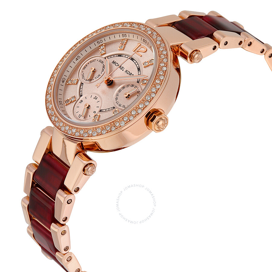 4ddc64a18fcb ... Michael Kors Mini Parker Multi-Function Rose Dial Rose Gold-plated and  Amber Tortoise ...