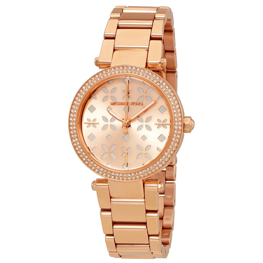 0e7d30f4c880 Michael Kors Mini Parker Rose Gold-tone Floral Cutout Dial Ladies Watch  MK6470 ...