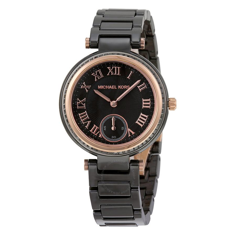 Michael Kors Mini Skylar Black Dial Ceramic Ladies Watch ... Michael Kors Watches Black Ceramic