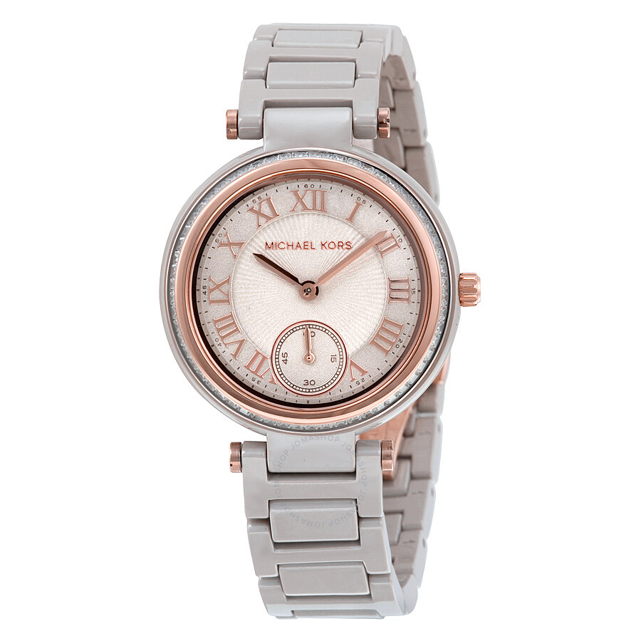 f5d9dca999c Michael Kors Mini Skylar Grey Dial Ceramic Ladies Watch MK6241 ...