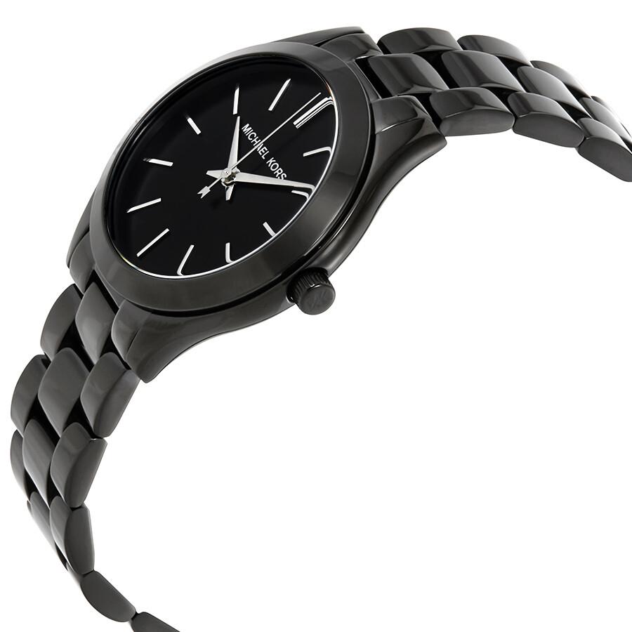 b42e55b848f6 Michael Kors Mini Slim Runway Black Dial Ladies Watch MK3587 - Slim ...