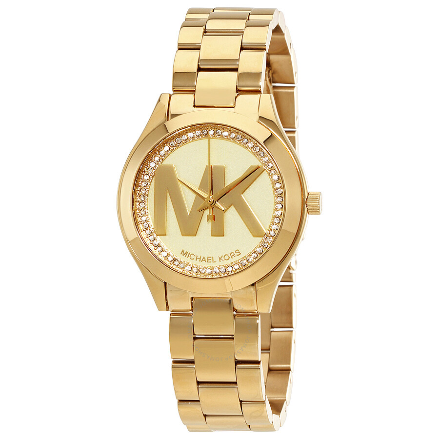 michael kors mini slim runway ladies gold tone watch. Black Bedroom Furniture Sets. Home Design Ideas
