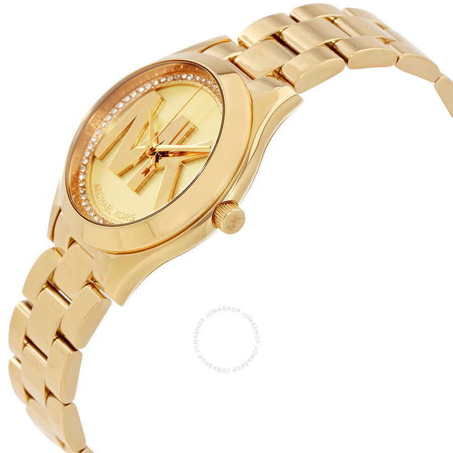 83c2cf13a124 Michael Kors Mini Slim Runway Ladies Gold Tone Watch MK3477 - Slim ...