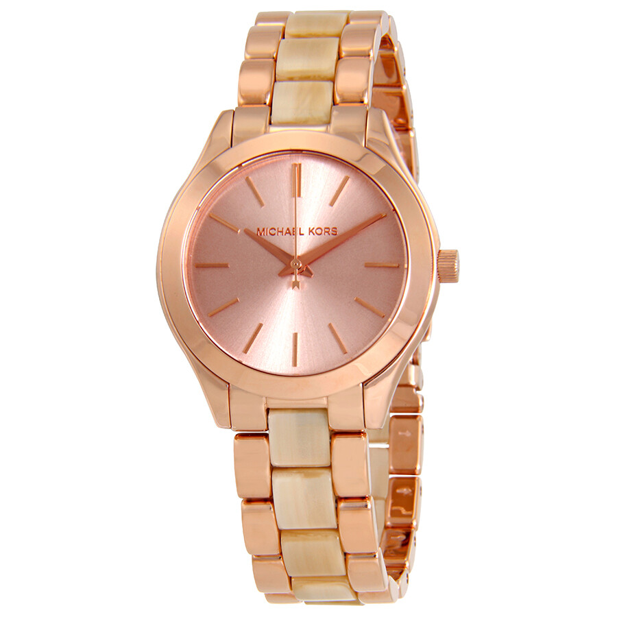 ff0fccb5c6100 Michael Kors Mini Slim Runway Rose Gold Dial Ladies Watch MK3701 ...