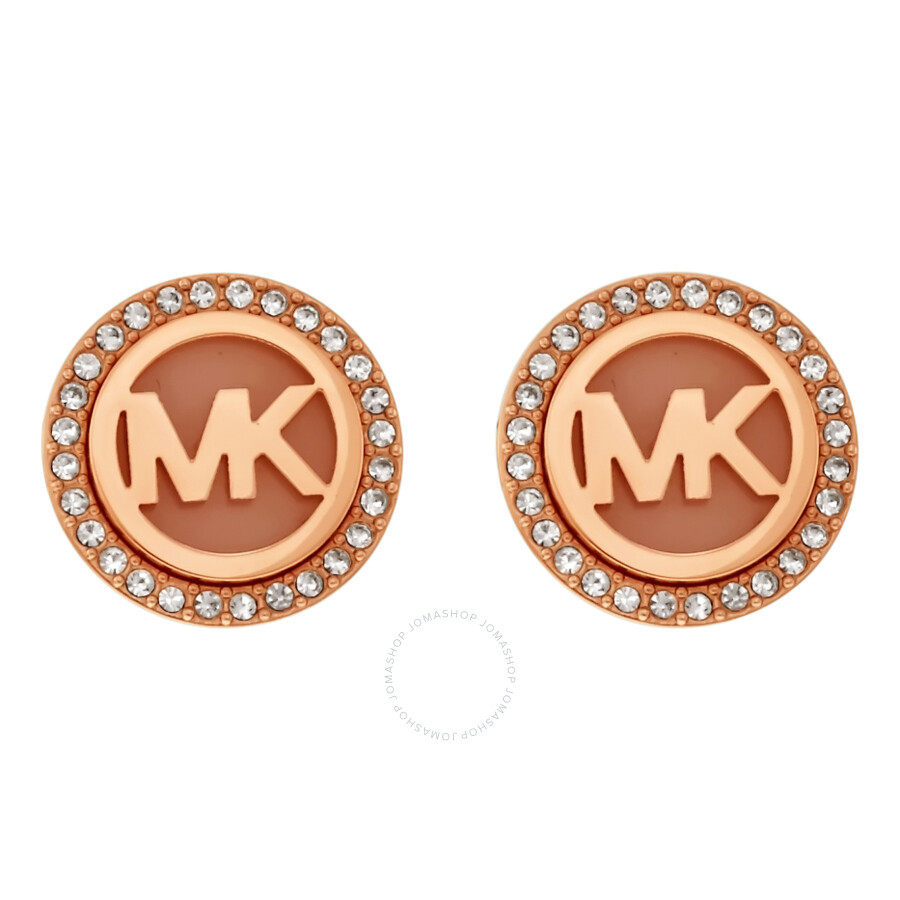 26f195094 Michael Kors MK Logo Rose Gold-Tone Stud Earrings MKJ4341791 ...