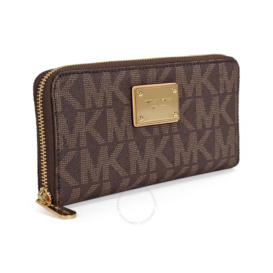 Michael Kors MK Logo Zip Continental Wallet - Brown