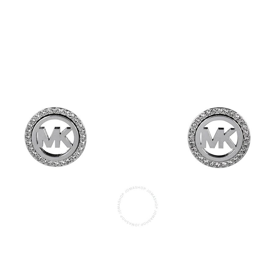 Michael Kors Monogram Pave Logo Silver Tone Earrings