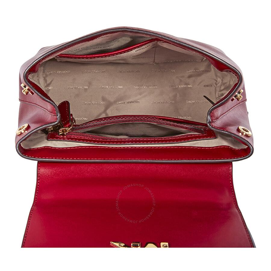 48523bd19dda Michael Kors Mott Leather Backpack- Maroon - Michael Kors Handbags ...