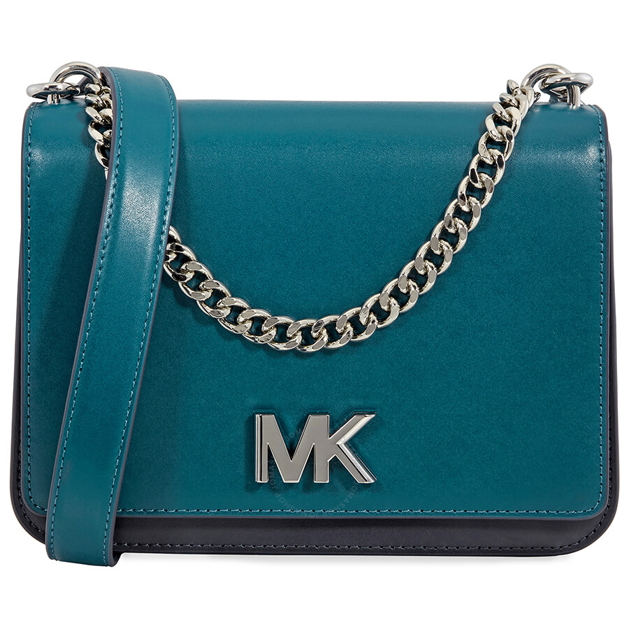0ee332edd702 Michael Kors Mott Leather Crossbody- Teal - Michael Kors Handbags ...