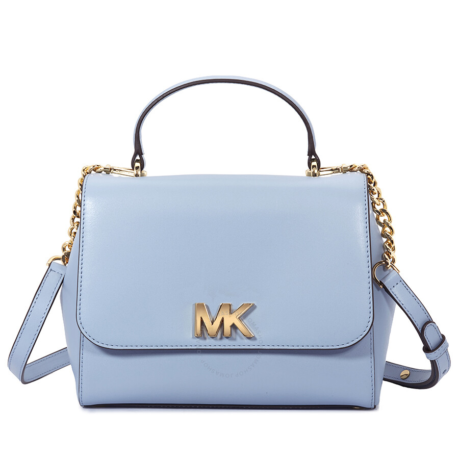 ab38d97c42bf Michael Kors Mott Medium Leather Satchel- Pale Blue Item No. 30S8GOXS2L-487